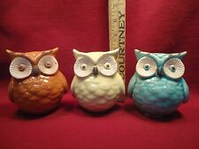 Set of 3 Porcelain Owl or Bird Figurines Distressed Crackle Finish Brand New