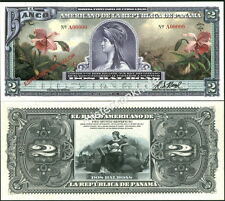 """NEW PANAMA LARGE SIZE """"SERIES OF 1918A"""" 2 BALBOAS FANTASY ART NOTE BY REED BNC!"""