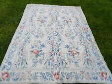 BEAUTIFUL Vtg Needlepoint Hand Made French Style Floral Rug Blues/Off-White 8X11