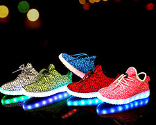 New Children Kids Boys Girls Led Light Lace Up Luminous Sneakers Casual Shoes #