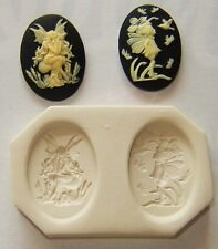 Lot of 2 Fairy Cameo, Polymer Clay Push Molds 25x18mm Make Your Own Jewelry # 3