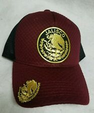 JALISCO  MEXICO   HAT . MESH TRUCKER MARRON BLACK SNAP BACK   ADJUSTABLE NEW