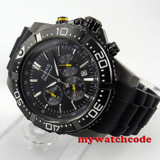 45mm Parnis Black Dial PVD case Full Chronograph date quartz mens Watch 585
