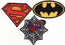 Spiderman Superman Batman Super Heroes Iron On 3 Patch Lot A *New*