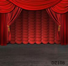 Stage Vinyl Studio Photography Backdrop Red Curtain Photo Background 5x7ft DZ108