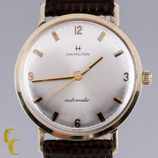 Hamilton Men's 14K Yellow Gold Automatic Watch w/ Brown Leather Band