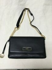 DKNY Soft Leather Chain Clutch Shoulder Cross-body Bag Black