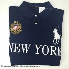 Ralph LAUREN POLO BIG PONY New York Città Navy Top T-shirt taglia Small RRP £ 115