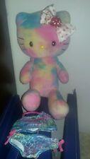 """Build a bear Hello Kitty Tye dye pastel colors retired 20"""" plush"""
