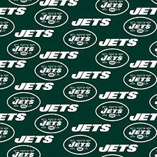 "100% Cotton Fabric New York Jets Fabric 58"" Wide NFL Licensed Sold BTY 6455"