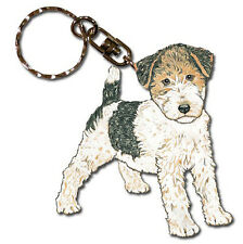 Wire Fox Terrier Wooden Dog Breed Keychain Key Ring