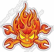 "Flame Skull Auto Mechanic Wrench Tool Box Car Bumper Vinyl Sticker Decal 4.6"""