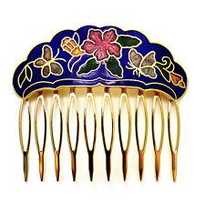 """Cloisonne 2.25"""" Hair Comb Blue Garden Painted Enamel Vintage Style Updo Clip"""