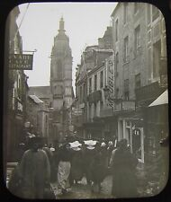 Glass Magic Lantern Slide FRENCH STREET SCENE NO6 C1890 FRANCE PHOTO ROUEN ?