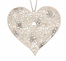 Distressed White Metal Daisy Hanging Heart Decoration Shabby Chic Gift Wedding
