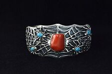 Native American Navajo Indian Jewelry SS Natural Coral Spider Bracelet