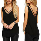 Fashion Women Summer V-Neck Vest Loose Sleeveless Tank T-Shirt Tops Blouse Black