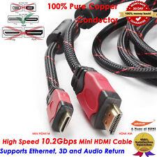 Premium Mini HDMI to HDMI cable w/Protective Nylon Net and Two Cores,6FT FEET
