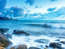 PHOTOGRAPHY SEASCAPE LIGHTHOUSE STORMY WEATHER WAVES ART PRINT POSTER MP3542A