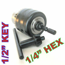 """1 pc key 1/16""""-1/2"""" Cap with 1/4"""" Hex adapter Drill Chuck sct-888"""