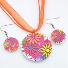 lovely flower wood pendants Necklace Earrings Jewerly set XL15