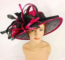 New Woman Church Derby Wedding Sinamay Ascot Dress Hat 3065 Hot Pink  / Black