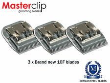 3 x New Masterclip 10F Dog/Horse Clipper Blades 1.6mm A5 Size fits Andis & Oster