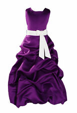 New Flower Girl Party Bridesmaid Pageant Dress 1-13 Y Purple+Sash in 10 Colours