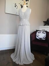 JENNY PACKHAM MAXI LONG LIGHT SILVER EMBELLISHED EVENING DRESS SIZE 8