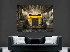 YELLOW HOT ROD CAR POSTER CLASSIC USA HUGE LARGE WALL ART POSTER PICTURE