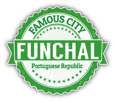 "Funchal City Portugal Grunge Travel Stamp Car Bumper Sticker Decal 5"" x 4"""