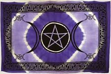 "Purple Triple Moon Pentacle Tapestry Blanket 72 x 108"" Wiccan Pagan Altar WTTPP"