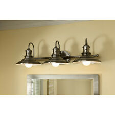 Allen + Roth Bathroom Vanity 3 Light Fixture Antique Metal Shade Wall Lighting