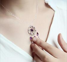 Dream Catcher Necklace Raw Amethyst Crystal Point Pendant Silver Plated