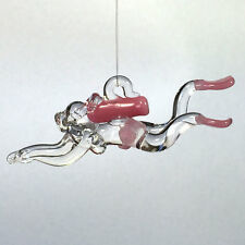 Hand Blown Glass Female Scuba Diver, Pink, Ornament, Suncatcher, Fan Pull