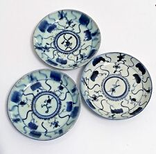 Antique CHINESE EXPORT WARE Porcelain 3 small Plates Dish BLUE & WHITE Signed
