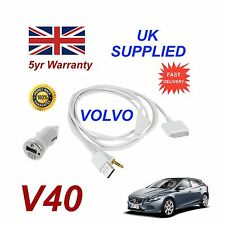 VOLVO V40 For Apple iPhone 3gs 4 4s iPod Audio Cable & 1.0A Power Adapter w