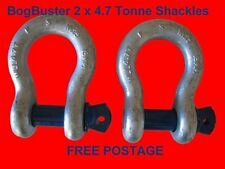 2X BOGBUSTER BOW SHACKLE SHACKLES 4.7T 4X4 OFF ROAD RECOVERY 4WD WINCH STRAP ACC
