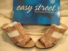 Women's Easy Street Barcelona size 7.5 W Cork/Gold Fleck Open-Toe Dress Sandal
