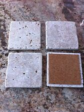 TC#5F FOUR (4) NATURAL STONE ABSORBENT TUMBLED TRAVERTINE COASTERS FREE SHIPPING