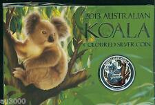 2013 $1 COLORIZED SILVER AUSTRALIA KOALA 1 Oz SEALED ORIGINAL PERTH MINT CARD !!
