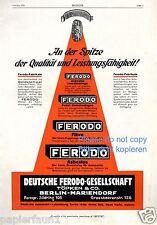 Auto Zubehör Ferodo Reklame von 1926 Töpken Berlin Mariendorf Bremsen Kupplung