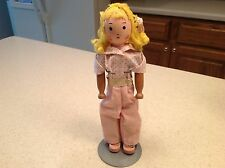 "Vintage Antique Schoenhut Wooden Clothespin Doll Unknown Girl Doll 9.5"" tall"