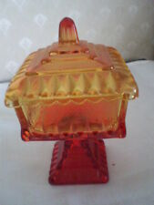 VINTGE RED/YELLOW AMBERINA DEPRESS GLASS COVERED PEDESTAL WEDDING BOWL-JEANETTE
