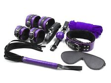 Purple Faux Leather Soft Fur Restraint Kit, Ball Gag, Collar, Wrist Cuff, Ropes