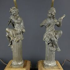 Antique Art Deco Nouveau Figural Cherub w/ Lute & Flute Raw Spelter Metal Lamps