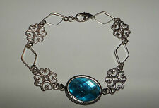 LACY FILIGREE VICTORIAN STYLE TURQUOISE ACRYLIC CRYSTAL SILVER PLATED BRACELET