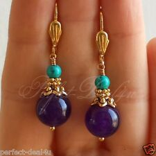 Purple Jade & Blue Green Turquoise stone Round Gold Plated Leverback Earrings