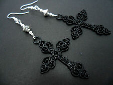 A PAIR OF LONG BLACK CROSS CRUCIFIX GOTH  MADONNA EARRINGS. NEW.