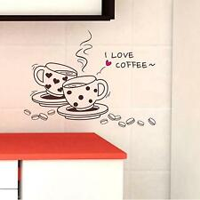 Coffee Cup Mural Art Decal Kitchen Hotel Dinning Room Removable Wall Sticker